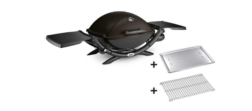 Weber® Q 1200, Black mit Hitzeschild und Bratenrost