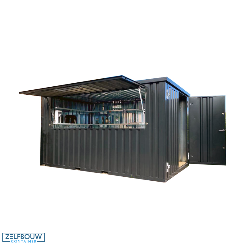 Leih-Party See Container Bar / Foodtruck Container in schwarz