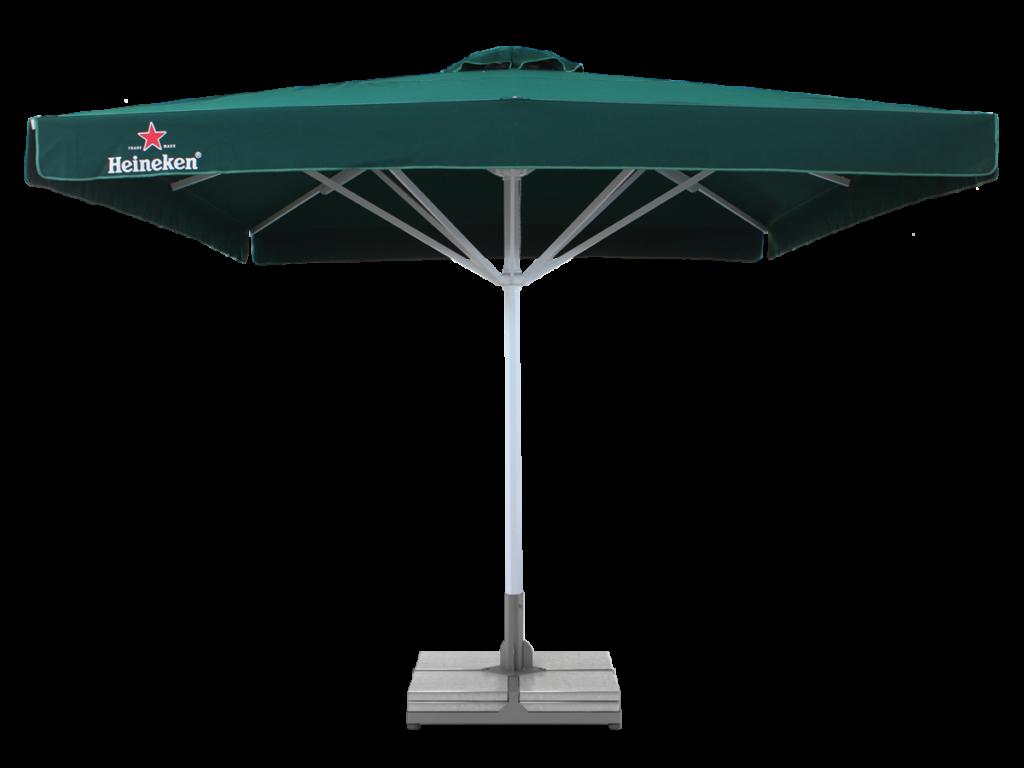 Leih-Sonnenschirm XL inkl. Betonfuss mit Werbeaufschrift