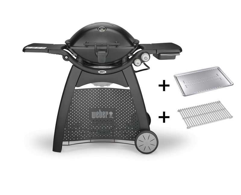 Weber® Q 3200 mit Rollwagen, Black mit Hitzeschild und Bratenrost