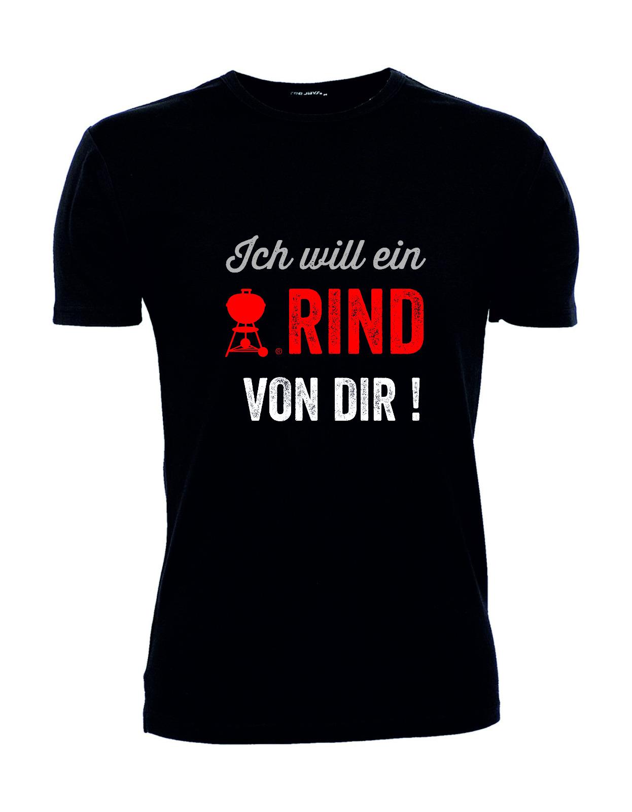 """T-Shirt """"Ich will ein Rind von dir"""" Stretch men's, S"""